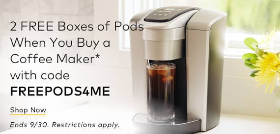 2 Free Boxes of Pods when you purchase a coffee maker